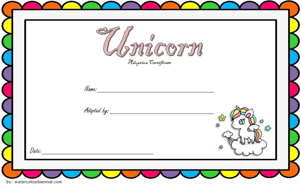 Rainbow Unicorn Adoption Certificate Free Printable (2Nd With Cat Adoption Certificate Template 9 Designs