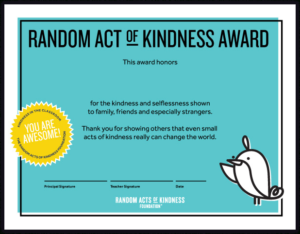 Random Acts Of Kindness | Kindness Printables intended for Certificate Of Kindness Template Editable Free