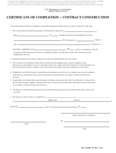 Rdup Form 187 Download Fillable Pdf Or Fill Online In Certificate Of Completion Construction Templates