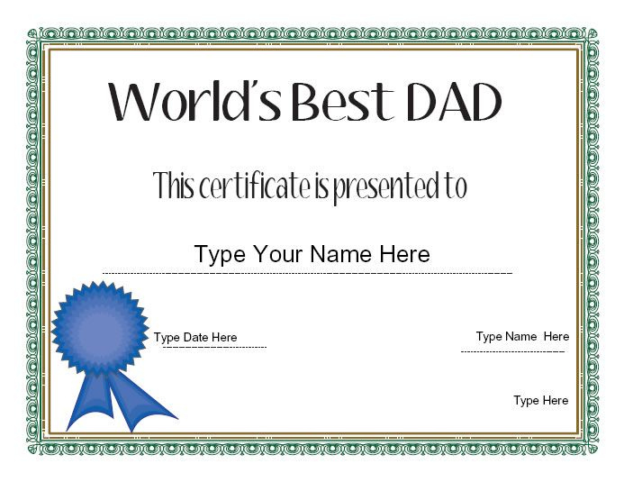 Relationships Certificate - Dad'S Day Certificate - Dad throughout Fresh Best Dad Certificate Template