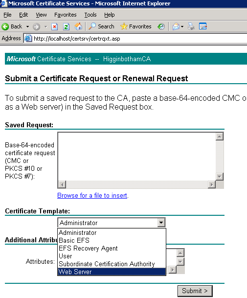 Requesting An Exchange Certificate From An Enterprise for Certificate Authority Templates