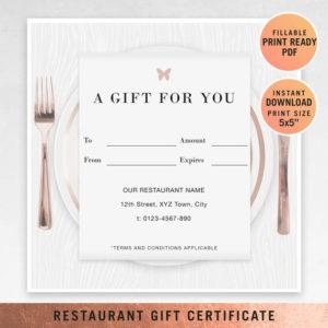 Restaurant Fillable Gift Certificate Template, A Gift For You, Gift  Voucher, Gift Certificate Printable, Pdf, Dining Voucher Template regarding Unique Fillable Gift Certificate Template Free