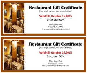 Restaurant Gift Certificate 1 – Printable Samples for Unique Restaurant Gift Certificates Printable