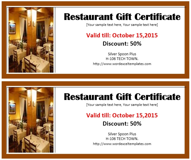 Restaurant Gift Certificate 1 - Printable Samples for Unique Restaurant Gift Certificates Printable