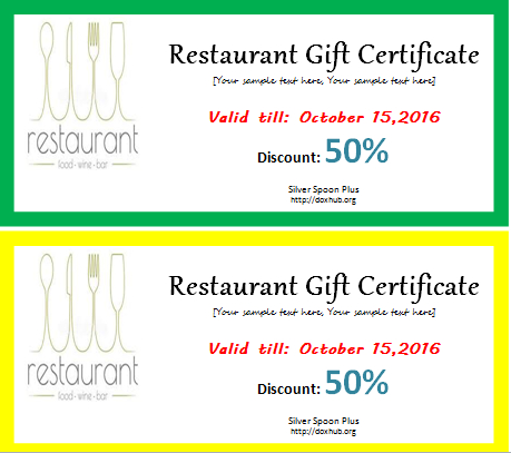 Restaurant Gift Certificate Template For Word   Document Hub pertaining to Restaurant Gift Certificate Template