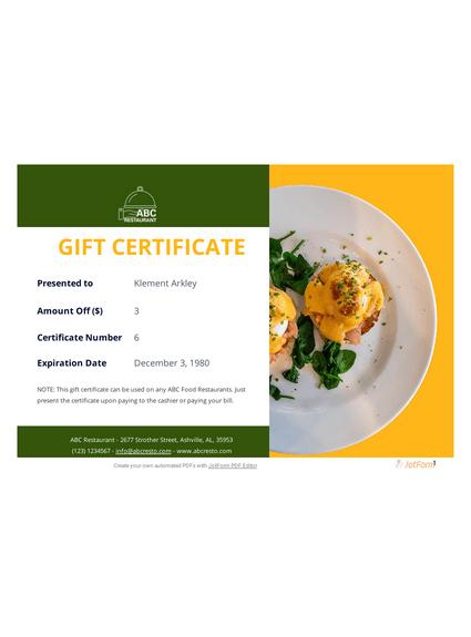 Restaurant Gift Certificate Template - Pdf Templates | Jotform with regard to Unique Restaurant Gift Certificates Printable