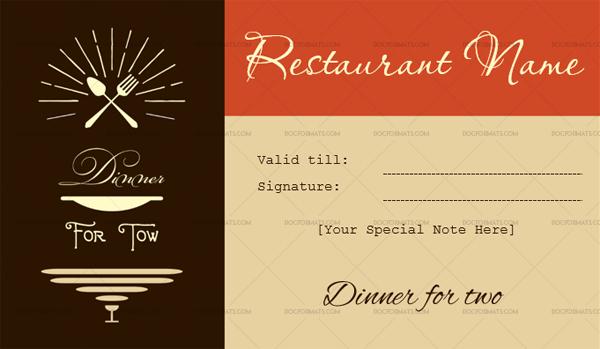 Restaurant Gift Certificate Templates (7+ Editable & Printable) for Restaurant Gift Certificates Printable
