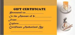 Restaurant Gift Certificate Templates: Gift Tastefully To in Restaurant Gift Certificates Printable