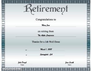 Retirement Certificate Printable Certificate regarding Retirement Certificate Template