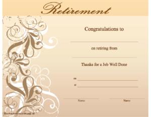 Retirement Certificate Printable Certificate throughout New Retirement Certificate Templates