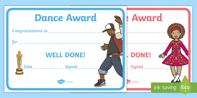 Reward Certificates Dance Award Certificate (Teacher Made) regarding Quality Dance Award Certificate Templates