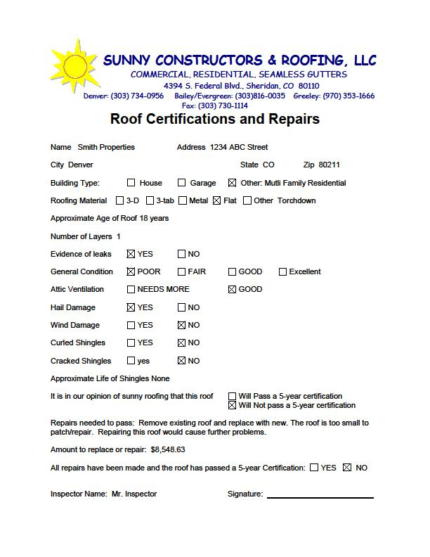 Roof Certification Template (1) - Templates Example with regard to Unique Roof Certification Template