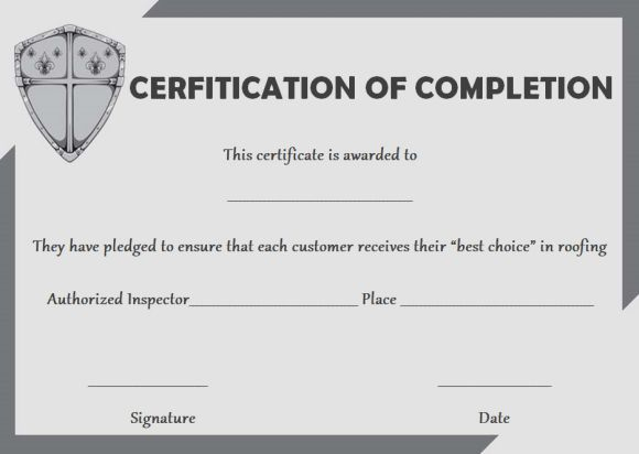 Roofing Certificate Of Completion Template | Certificate Of Inside Unique Roof Certification Template