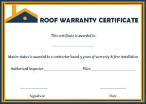 Roofing Warranty Certificate Templates Free | Certificate throughout Unique Roof Certification Template