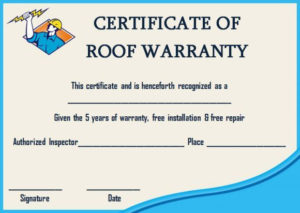 Roofing Warranty Certificate Templates Word | Certificate pertaining to Unique Roof Certification Template