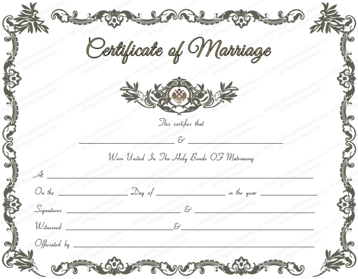 Royal Marriage Certificate Template - For Word with regard to Unique Marriage Certificate Editable Templates
