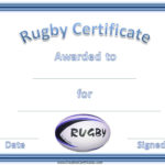 Rugby Certificates With A Blue And White Rugby Ball Intended For Quality Rugby Certificate Template