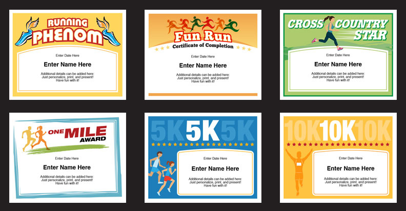 Running Certificates Templates   Runner Awards Cross Country Pertaining To Running Certificate Templates 10 Fun Sports Designs