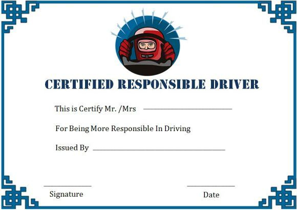 Safe Driver Certificate Of Merits   Certificate Templates inside Unique Safe Driving Certificate Template