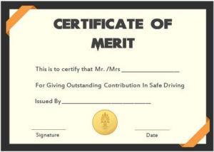 Safe Driver Certificate Of Meritss | Certificate Templates for Certificate Of Merit Templates Editable