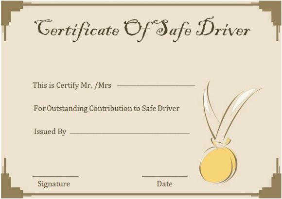 Safe Driver Certificates   Certificate Templates, Printable in Safe Driving Certificate Template