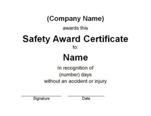 Safety Award Certificate | Free Word Templates Customizable in Safety Recognition Certificate Template