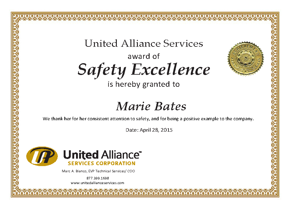 Safety Recognition Certificate Template (2) - Templates with regard to Quality Safety Recognition Certificate Template
