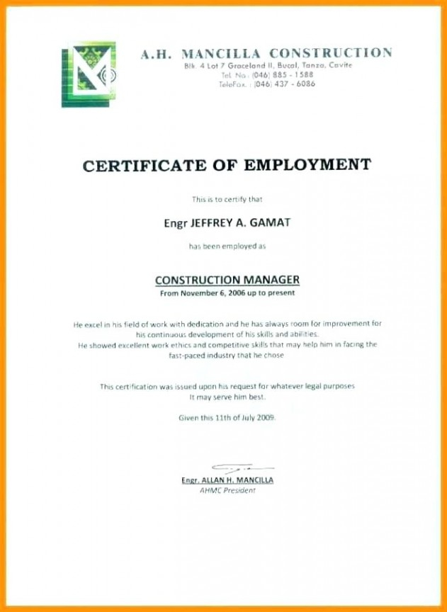 Sample Certificate Of Employment Sample Certificate for Template Of Certificate Of Employment