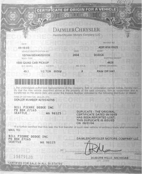 Sample Certificate Of Origin (Us) - Nzta Vehicle Portal with regard to Certificate Of Origin For A Vehicle Template