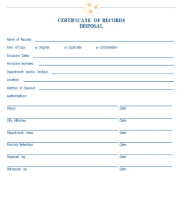 Sample Certificate Of Records Disposal | Mtas in Destruction Certificate Template