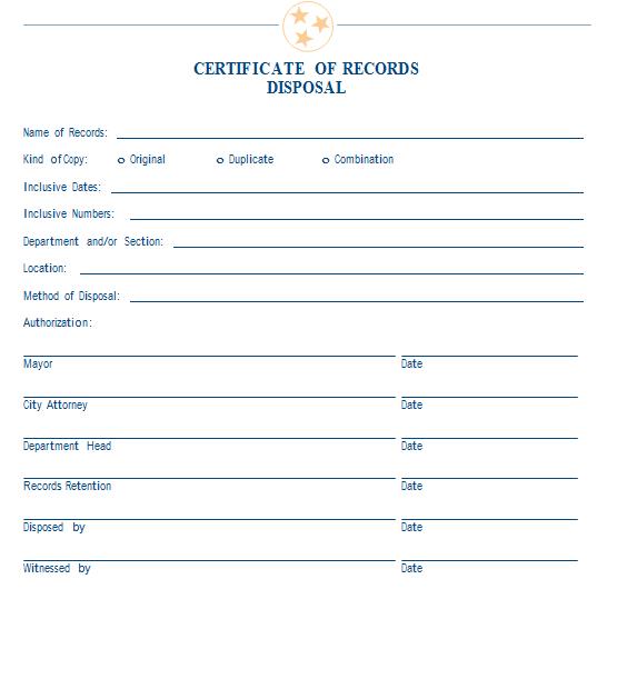 Sample Certificate Of Records Disposal | Mtas throughout Fresh Certificate Of Disposal Template