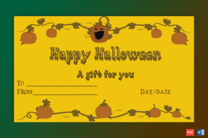 Sample Of Halloween Gift Certificate Petrify | Certificate inside Fresh Halloween Gift Certificate Template Free