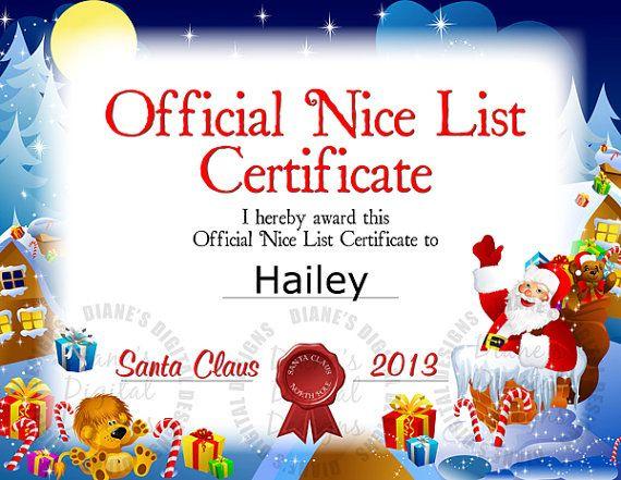 Santa Nice List Certificate   Nice List Certificate within New Santas Nice List Certificate Template Free