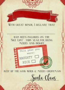 "Santa ""Nice List"" Free Printable Certificate | Christmas intended for New Santas Nice List Certificate Template Free"