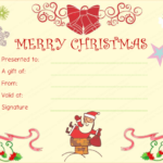 Santaclaus Gift Giving Christmas Gift Certificate In Quality Christmas Gift Templates Free Typable