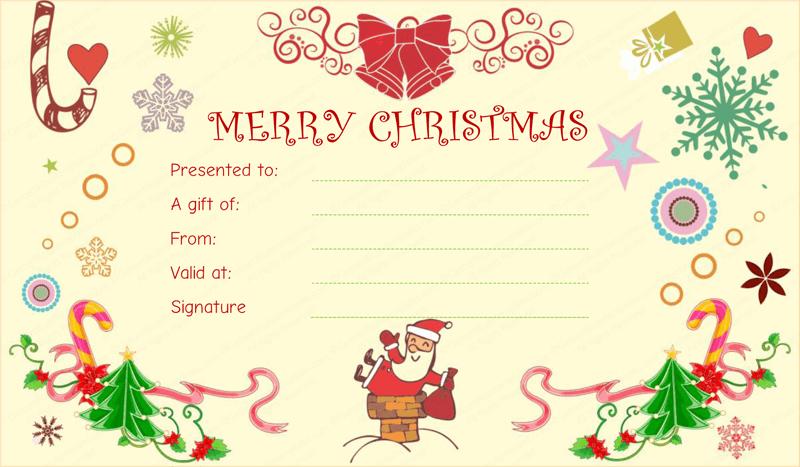 Santaclaus Gift Giving Christmas Gift Certificate with Merry Christmas Gift Certificate Templates