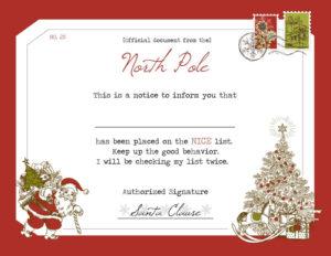 Santa'S Nice List Certificate inside Santas Nice List Certificate Template Free