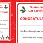 Santa'S Nice List Certificate (Teacher Made) For Santas Nice List Certificate Template Free