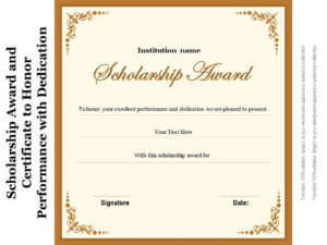 Scholarship Award And Certificate To Honor Performance With in Best 10 Scholarship Award Certificate Editable Templates