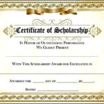 Scholarship Award Certificate Within Quality Scholarship Certificate Template Word