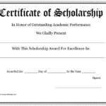 Scholarship Certificate – Download Free Documents For Pdf Inside Quality Scholarship Certificate Template Word
