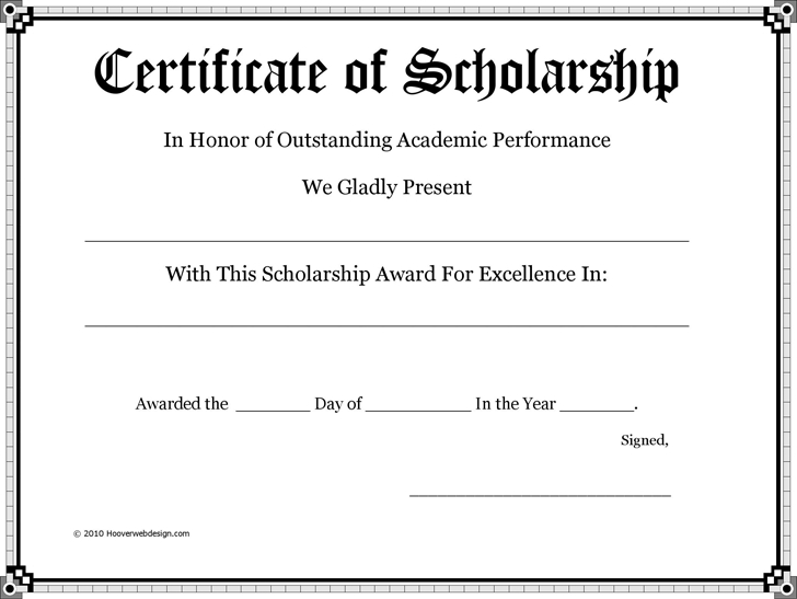 Scholarship Certificate - Download Free Documents For Pdf Inside Quality Scholarship Certificate Template Word
