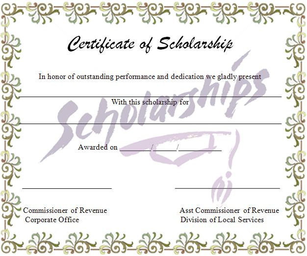 Scholarship Certificate Template | Graphics And Templates intended for Scholarship Certificate Template