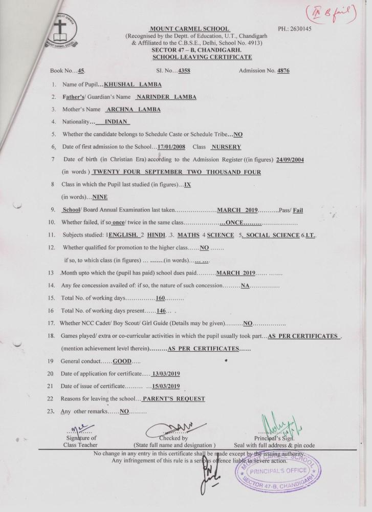 School Leaving Certificate – Mount Carmel School throughout School Leaving Certificate Template