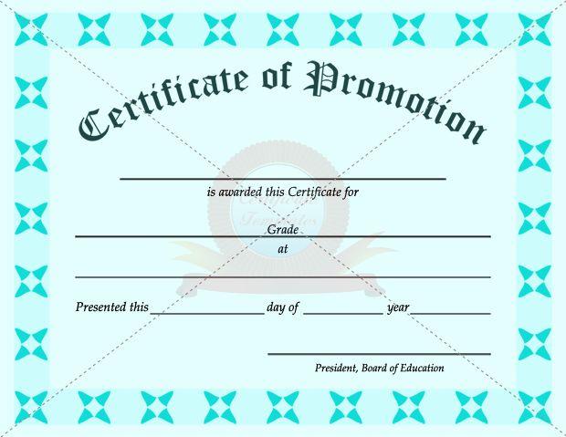 School Promotion Certificate Template | Graduation in Grade Promotion Certificate Template Printable