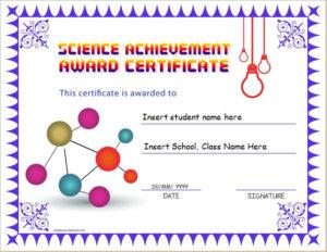 Science Achievement Award Certificates   Word & Excel Templates with Unique Science Award Certificate Templates