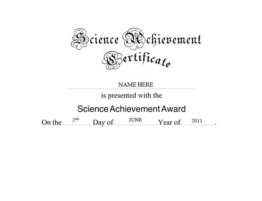 Science Achievement Certificate Free Templates Clip Art within New Science Achievement Certificate Templates