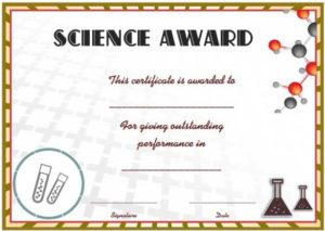 Science Fair Certificates : 14+ Printable Full Color for Science Achievement Certificate Template Ideas