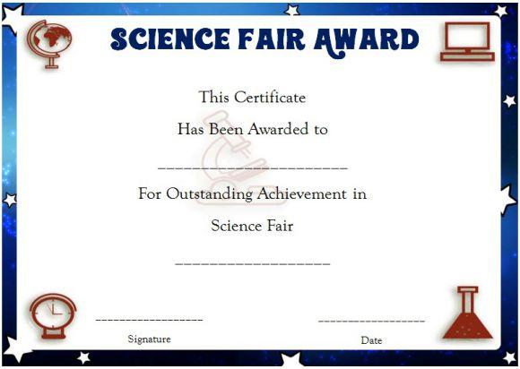Science Fair Certificates : 14+ Printable Full Color regarding Unique Science Fair Certificate Templates