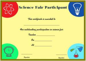 Science Fair Participation Certificate : 11+ Free Editable with New Free 6 Printable Science Certificate Templates